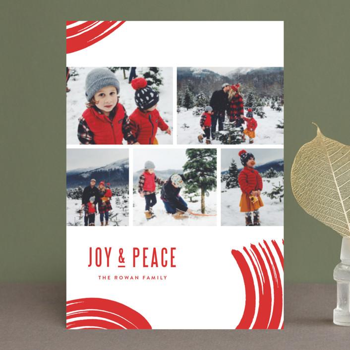 """Windows of Joy"" - Modern Holiday Postcards in Candy Cane by Oscar & Emma."