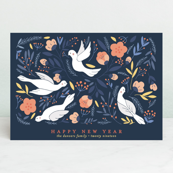"""""""Birds Botanical Peace"""" - Vintage Holiday Postcards in Midnight by curiouszhi design."""