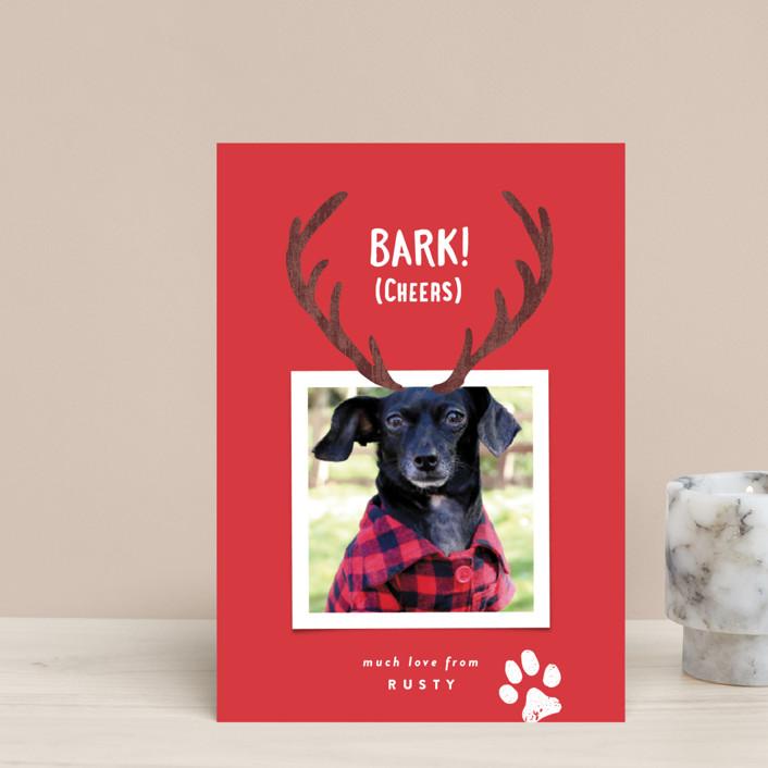 """Reindeer Ears"" - Holiday Postcards in Berry by Hooray Creative."