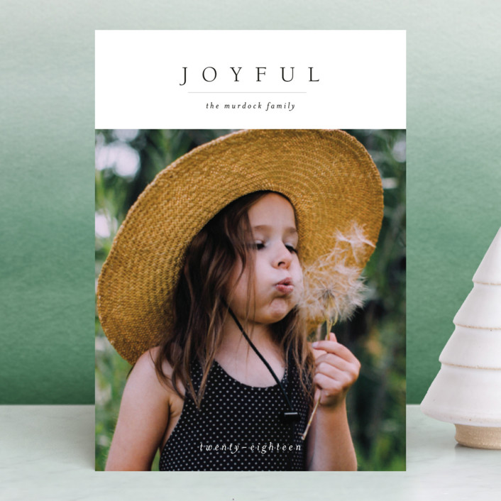 """Minimal Joy"" - Holiday Postcards in Coal by Mere Paper."