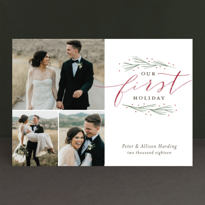 """""""Our First Married Christmas"""" - Holiday Postcards in Pine by Sarah Guse Brown."""