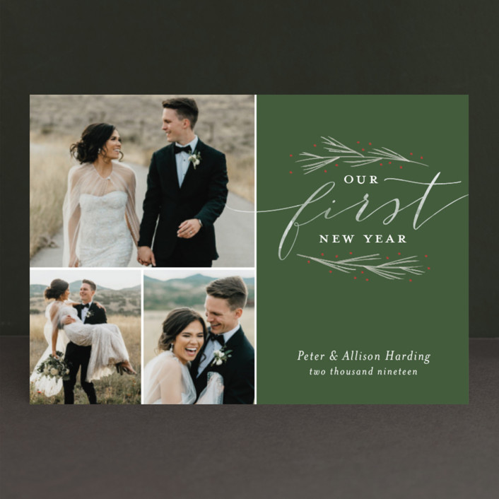 """""""Our First Married Christmas"""" - Holiday Postcards in Evergreen by Sarah Brown."""