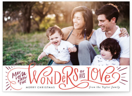 Wonder of His Love Script Holiday Postcards