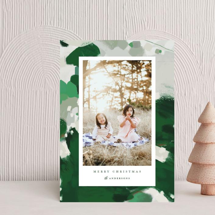"""Blithely"" - Modern Holiday Postcards in Shamrock by Alaina Cherup."