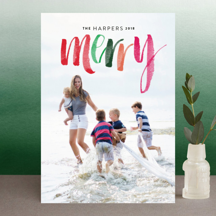 """Merry Happens"" - Holiday Postcards in Festive by Design Lotus."