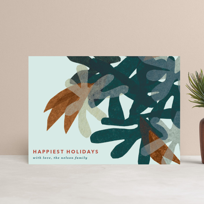 """Mod Floral"" - Modern Holiday Postcards in Chestnut by Carrie Moradi."