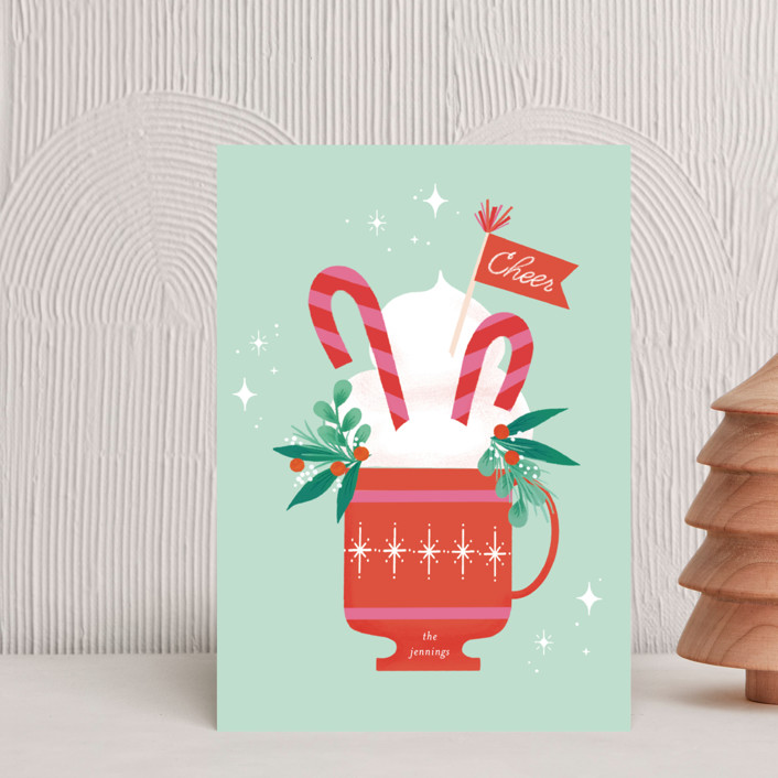 """""""Cup of Cheer"""" - Vintage Holiday Postcards in Mint by Itsy Belle Studio."""