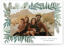 This is a green christmas postcard by Alethea and Ruth called Evergreen Variety with standard printing on signature in postcard.