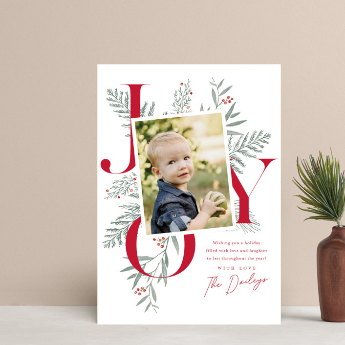 """Joy Greenery"" - Holiday Postcards in Candy Cane by Oscar & Emma."