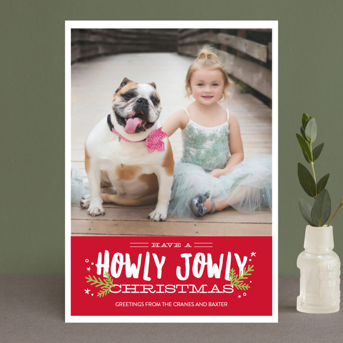 """""""Howly Jowly Christmas"""" - Holiday Postcards in Cranberry by Eric Clegg."""