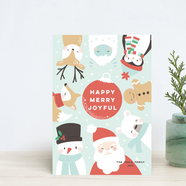 """happy merry joy"" - Holiday Postcards in Winter Sky by peetie design."