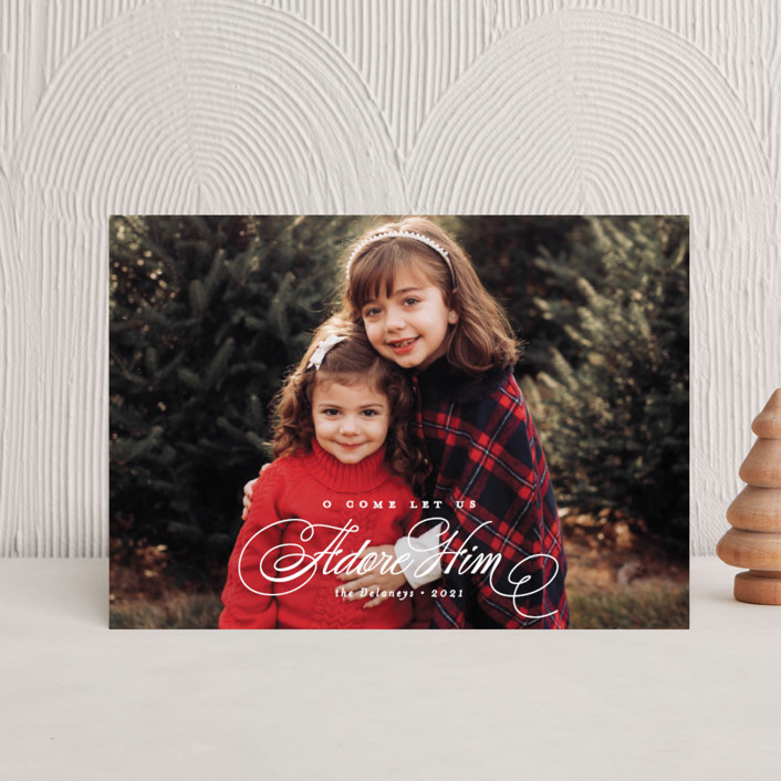 """Elegant Adore Him"" - Holiday Postcards in Snow by Brianne Larsen."