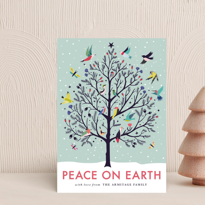 """""""Peace on Earth"""" - Holiday Postcards in Winter Sky by Eve Schultz."""