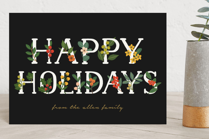 """""""Holiday Vines"""" - Holiday Postcards in Charcoal by Faiths Designs."""