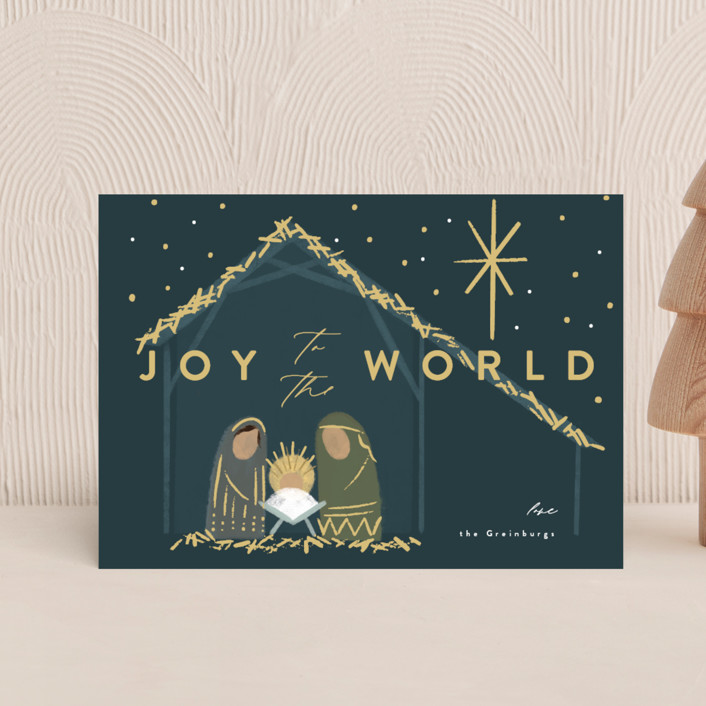 """""""Nativity"""" - Bohemian Holiday Postcards in Midnight by Rebecca Durflinger."""
