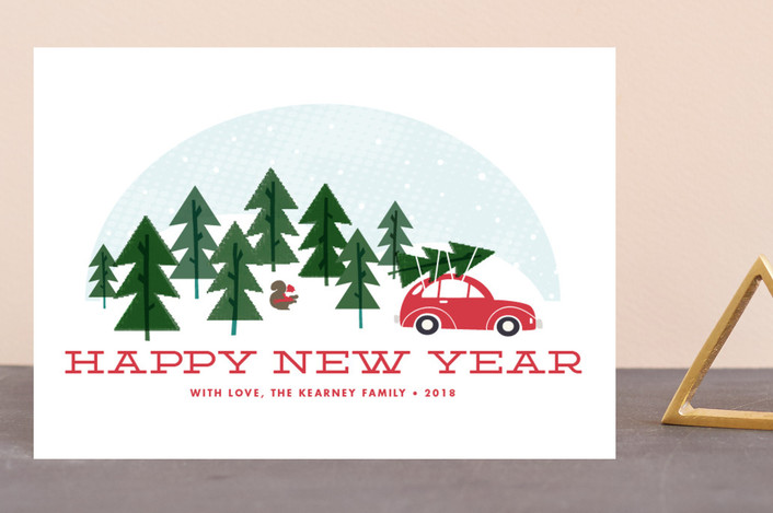 """Car Ride"" - Vintage Holiday Postcards in Holly Berry by Paper and Parcel."