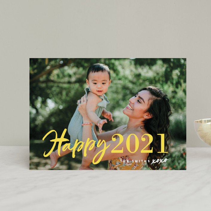 """New Year XOXO"" - Modern Holiday Postcards in Lemon by Chryssi Tsoupanarias."
