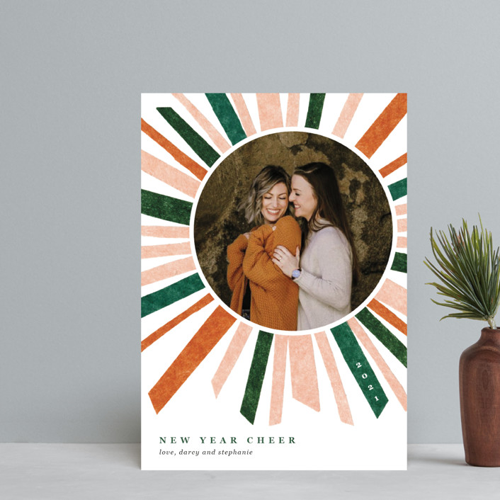 """""""Cheery Burst"""" - Modern Holiday Postcards in Persimmon by Carrie Moradi."""