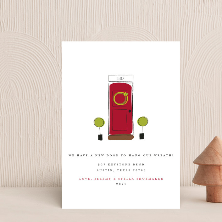 """A New Door"" - Holiday Postcards in Cranberry by Fig and Cotton."