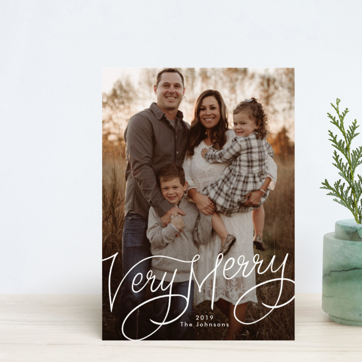 """""""Very Merry Hand Lettered"""" - Holiday Postcards in Snow by Becky Nimoy."""
