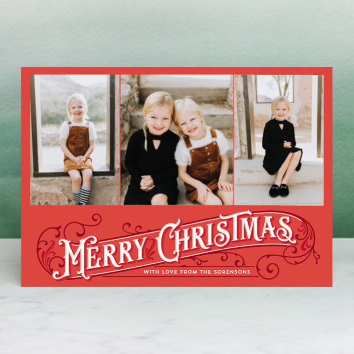 """""""Antique Christmas"""" - Vintage Holiday Postcards in Ruby by GeekInk Design."""