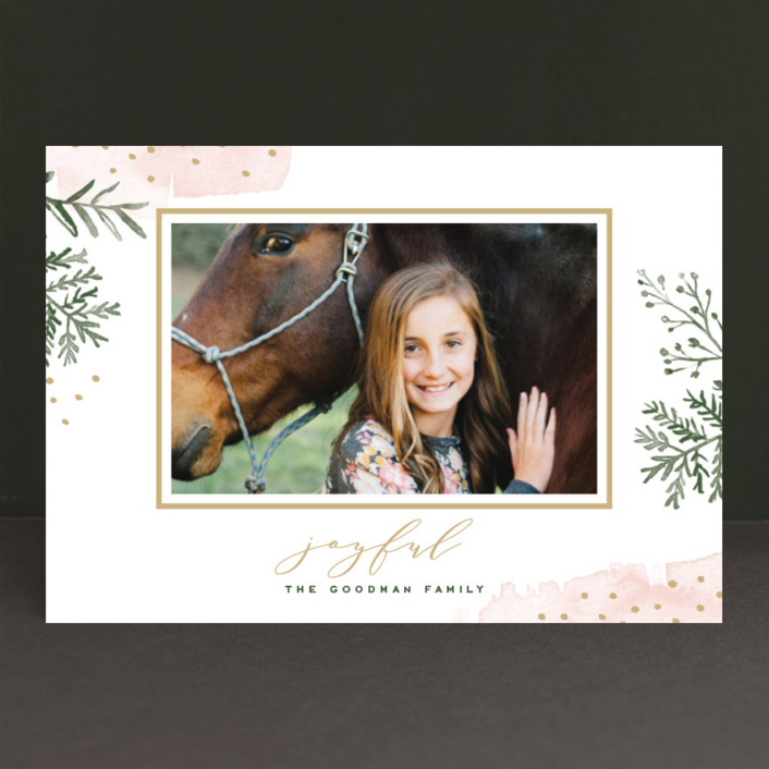 """Watercolor Winter"" - Bohemian Holiday Postcards in Petal by Oscar & Emma."