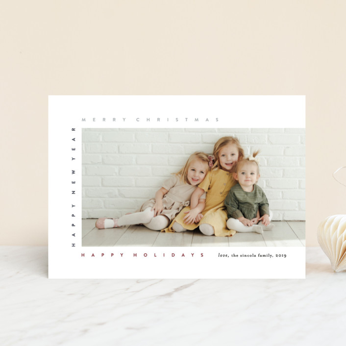 """merry frame"" - Holiday Postcards in Petal by Bethany McDonald."