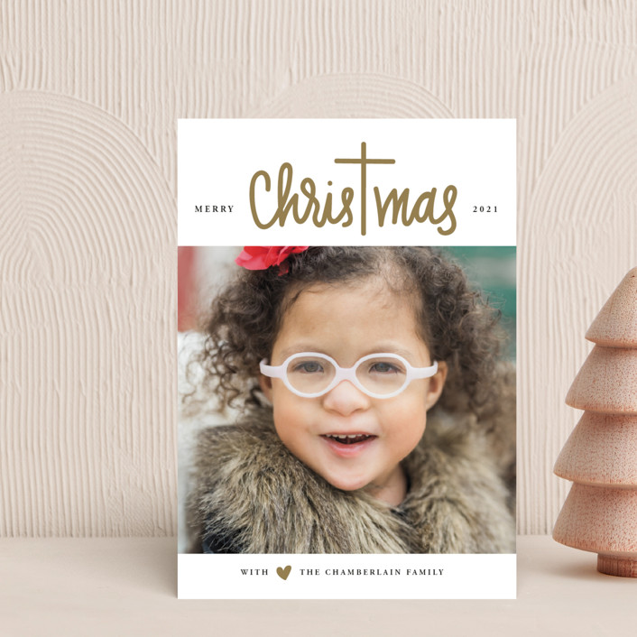 """""""Christ in Christmas"""" - Modern Holiday Postcards in Reindeer Antlers by Up Up Creative."""