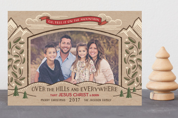 """Go, Tell it on the Mountain"" - Vintage Holiday Postcards in Kraft by Paper Sun Studio."