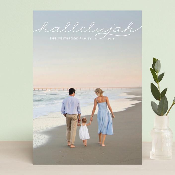 """""""hallelujah in script"""" - Holiday Postcards in Cloud by Erin Deegan."""
