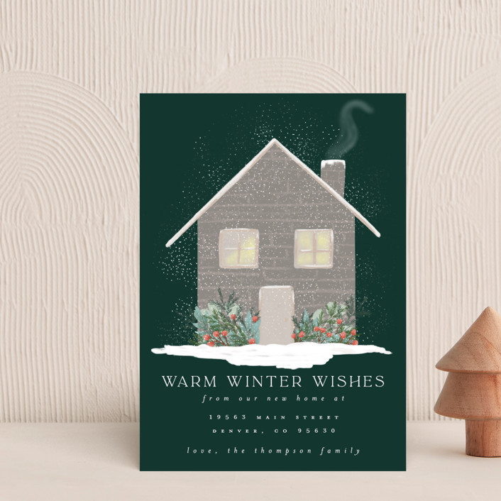 """""""Warm Winter Wishes"""" - Vintage Holiday Postcards in Pine by Ashlee Townsend."""