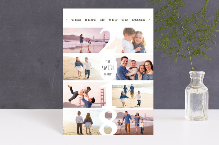 """New Year New Adventures"" - Holiday Postcards in Pearl by Playground Prints."