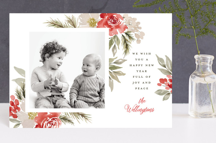 """Every Good + Perfect Gift"" - Holiday Postcards in Poinsettia by Wildfield Paper Co.."