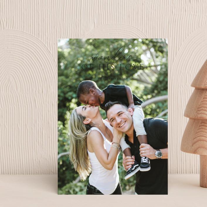 """wonder love"" - Holiday Postcards in Onyx by Erin Deegan."