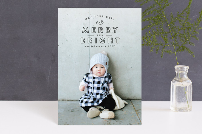 """""""May Your Days"""" - Holiday Postcards in Coal by peony papeterie."""