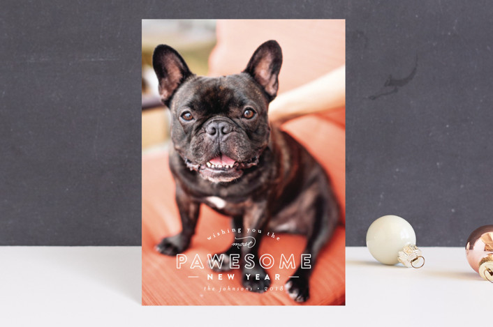 """""""Pawesome"""" - Funny Holiday Postcards in Frost by peony papeterie."""