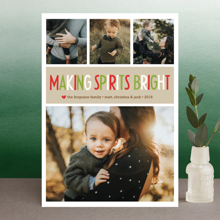 """"""" Making Spirits Bright"""" - Holiday Postcards in Cranberry by annie clark."""