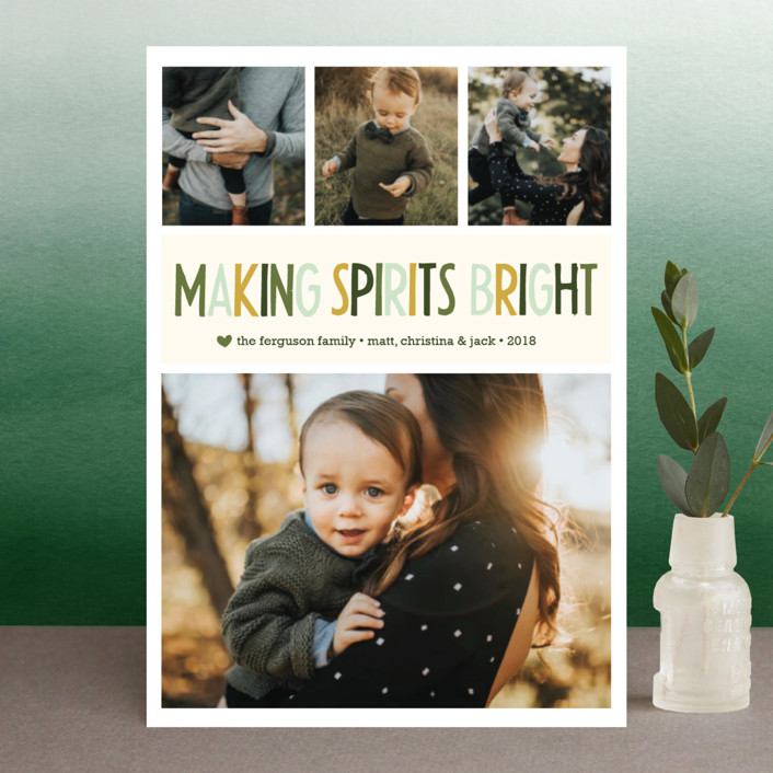 """ Making Spirits Bright"" - Holiday Postcards in Sour Apple by annie clark."