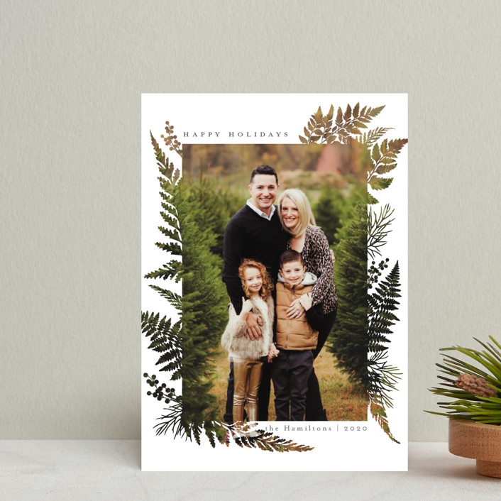 """""""Christmas Blessings"""" - Modern Holiday Postcards in Coal by Hudson Meet Rose."""