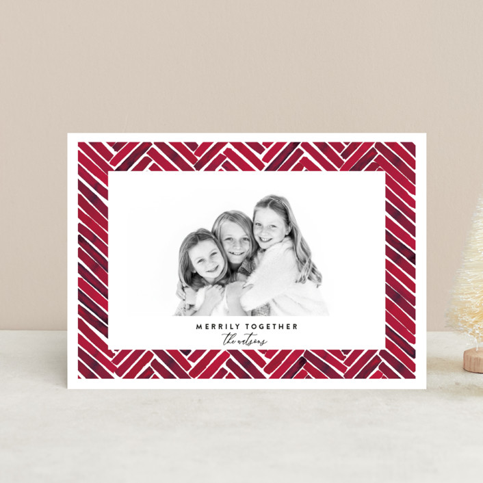 """""""Merrily Together"""" - Modern Holiday Postcards in Crimson by Susan Moyal."""