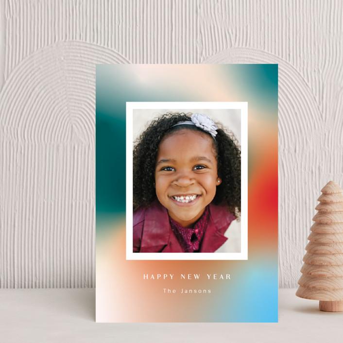 """""""Glowy new year"""" - Holiday Postcards in Celestial by Yaling Hou Suzuki."""