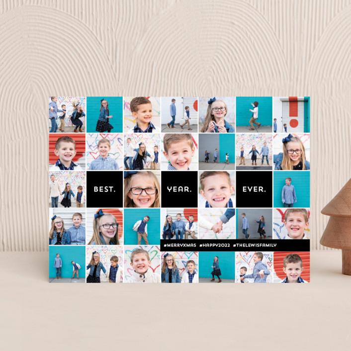 """""""Insta-grid"""" - Modern Holiday Postcards in Ebony by Dawn Jasper."""