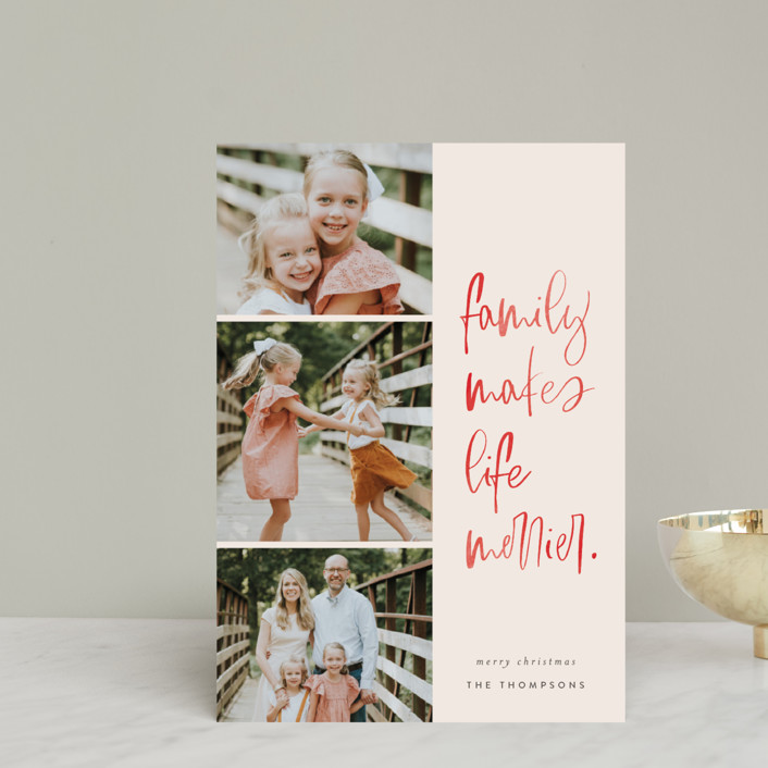 """""""Merry Life"""" - Modern Holiday Postcards in Berry by Carrie ONeal."""