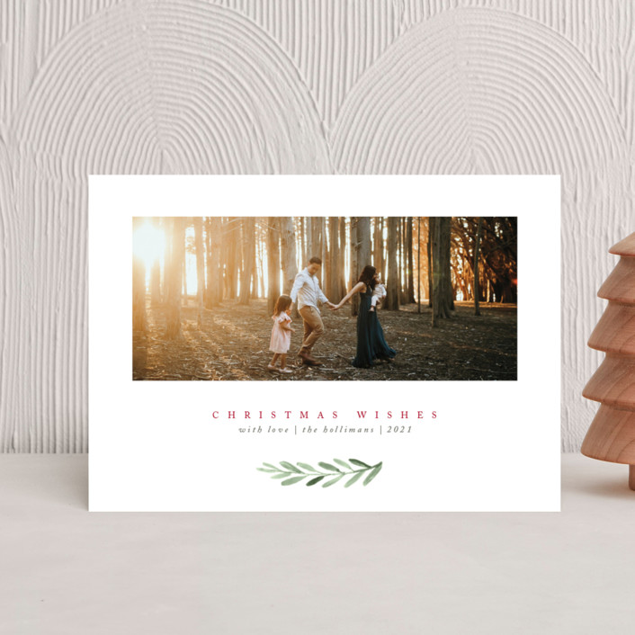 """""""Clean Laurel Wishes"""" - Holiday Postcards in Cranberry by The Carillos."""