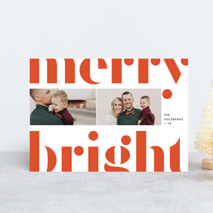 """Merry and bold"" - Holiday Postcards in Festive Red by Anna Elder."