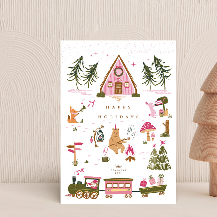 """""""Woodland Wonderland"""" - Vintage Holiday Postcards in Candy by Vivian Yiwing."""