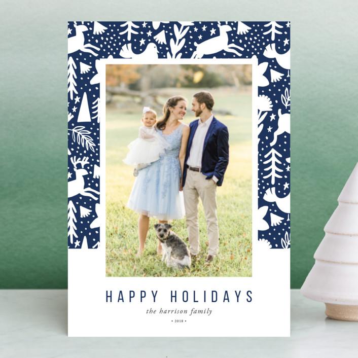 """Scandi Holiday"" - Holiday Postcards in Navy by Beth Schneider."