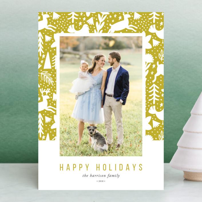 """Scandi Holiday"" - Holiday Postcards in Artichoke by Beth Schneider."