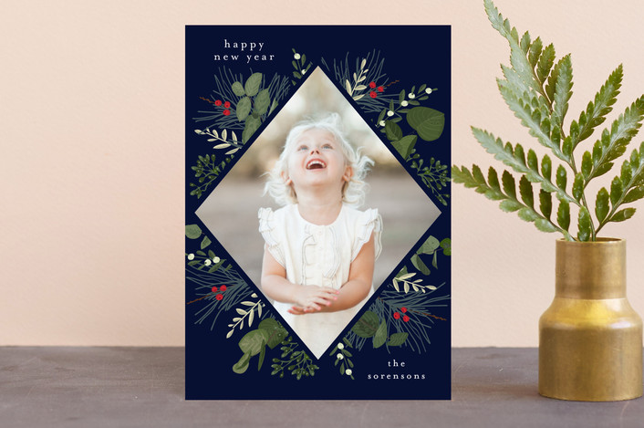 """Holiday Botanical"" - Holiday Postcards in Marine by Chris Griffith."