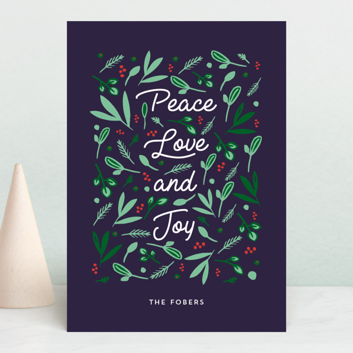 """""""Peace Love Joy Triple"""" - Holiday Postcards in Midnight by Erika Firm."""
